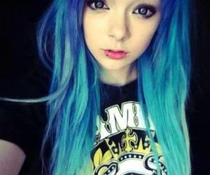 blue hair, hair, and scene image