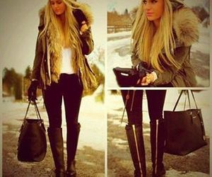 fashion, boots, and bag image