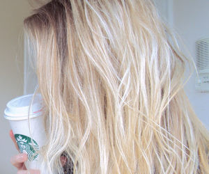 hair, starbucks, and blonde image