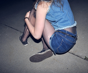 girl, jeans, and tights image
