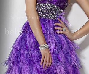 evening dress, feather dresses, and babyonlinedress image