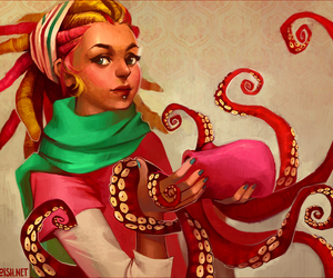 girl, octopus, and pink image