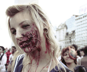 zombie, girl, and blood image