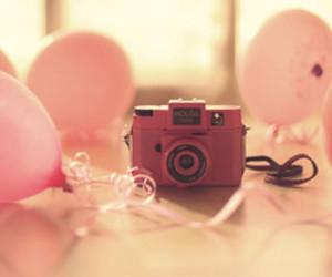 balloons, camera, and pink image