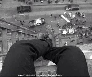 suicide, jump, and sad image
