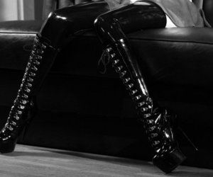 shoes, black and white, and fetish image