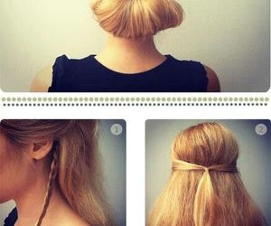 blonde, chignon, and hairstyle image