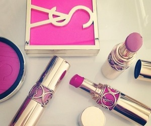 pink, YSL, and lipstick image