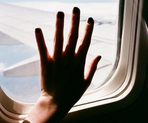 hand, plane, and travel image