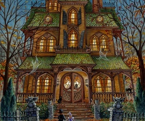 art, house, and autumn image