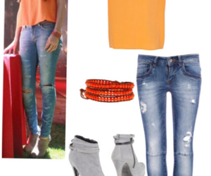 jewelry, orange, and outfit image