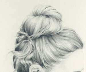 girl, hair, and drawing image