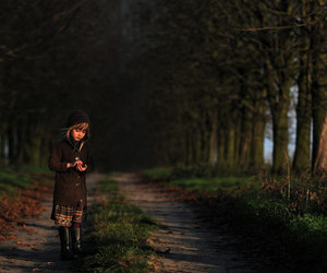 autumn and little girl image