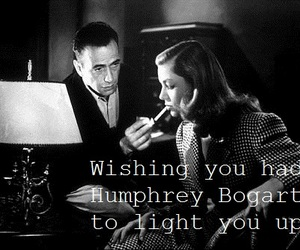 black and white, Humphrey Bogart, and Lauren Bacall image