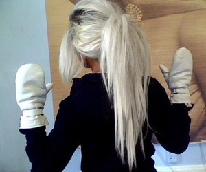 hair, blonde, and gloves image