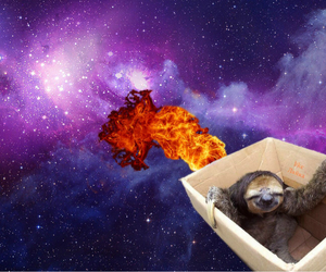 fire, purple, and sloth image