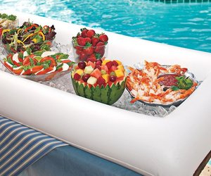 pool party, party decor, and appetizers image