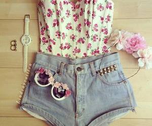 flower, outfit, and shorts image