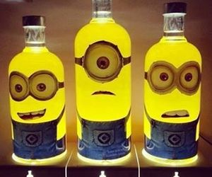 minions, yellow, and drink image