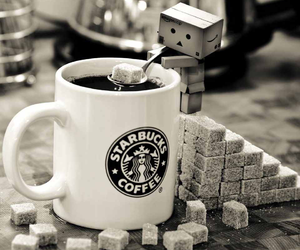 coffee, sugar cubes, and starbucks image