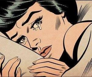 cry, pop art, and woman image