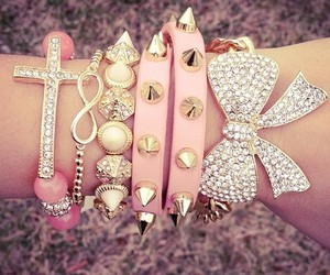 pink, bracelet, and bow image