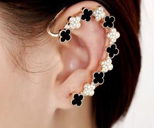 clover earrings, four leaf clover earrings, and clover ear wraps image