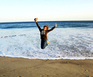 beach, leap, and girl image