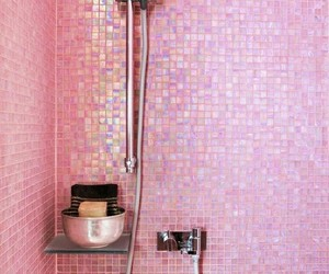 pink, shower, and bathroom image