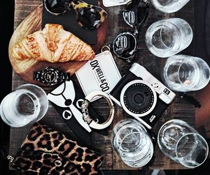 food, sunglasses, and coffee image