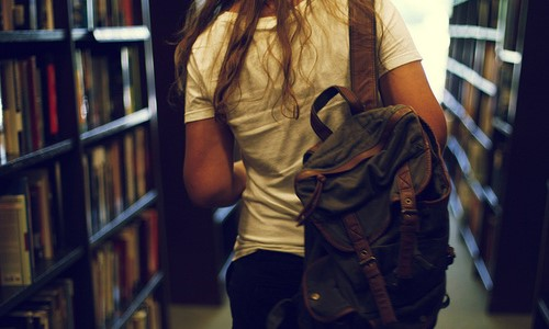 backpack, girl, and read image