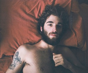 beard, curly hair, and handsome image