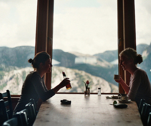 girl, beer, and mountains image
