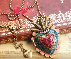 heart, neklace, and vintage image