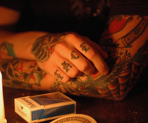 tattoo, cigarette, and face image