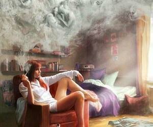 cigarette, girl, and memories image