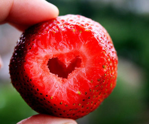strawberry, heart, and red image