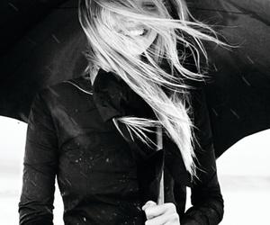 girl, black and white, and umbrella image