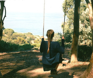 girl, tree, and swing image
