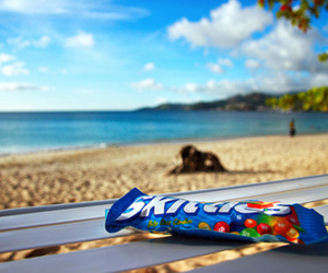 skittles, beach, and candy image