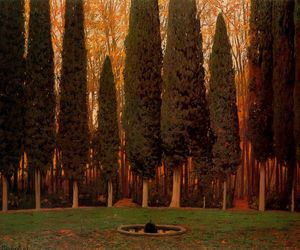 garden, tree, and garden with cypresses image