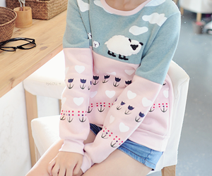 cute, sweater, and pink image