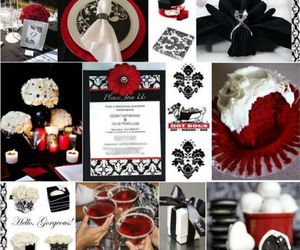 black, red, and wedding image