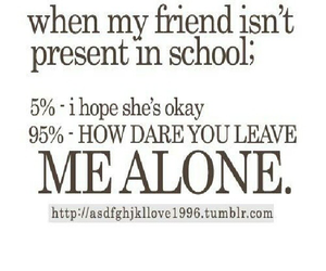 friends, alone, and school image