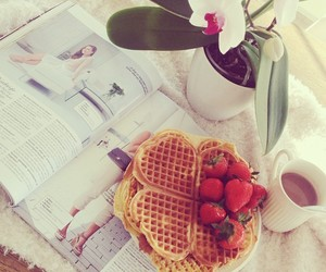 food, waffles, and flowers image