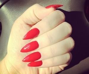 fashion, red nails, and nails image