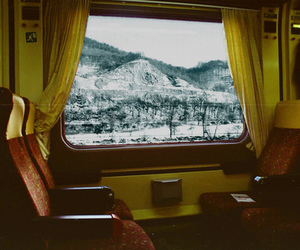 train, snow, and travel image