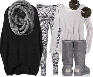outfit, winter, and grey image