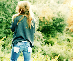 girl, jeans, and nature image
