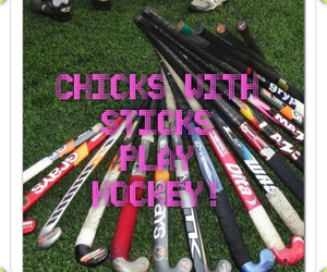 Chick, girl, and hockey image